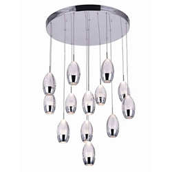 "24"" Bolle Modern Chrome Coated Crystal Elliptical Mini Pendants Round Base 13 Lights"
