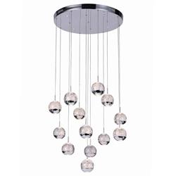 "24"" Bolle Modern Chrome Coated Crystal Spherical Mini Pendants Round Base 13 Lights"