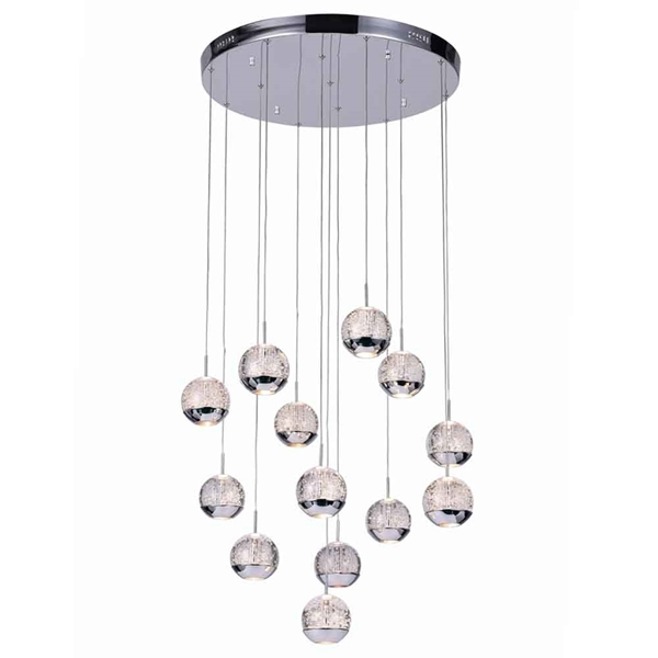 "Picture of 24"" Bolle Modern Chrome Coated Crystal Spherical Mini Pendants Round Base 13 Lights"