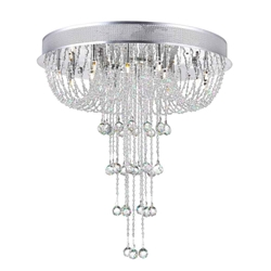 "24"" Chateaux Modern Foyer Crystal Chandelier Mirror Stainless Steel Base 16+3 Lights"
