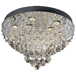 "24"" Chateaux Modern Round Crystal Flush Mount Ceiling Lamp Mirror Stainless Steel Base 9 Lights"