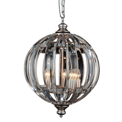 """24"""" Colorado Modern Crystal Round Chandelier Antique Forged Silver 5 Lights"""
