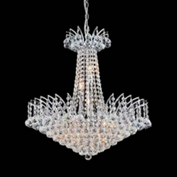 "24"" Elegant Crystal Round Chandelier Chrome / Gold 11 Lights"