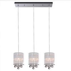 "24"" Gocce Modern String Shade Linear Round Mini Pendants Black White Silver 3 Lights"
