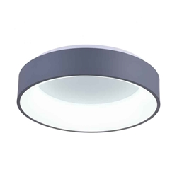 "24"" LED Drum Shade Flush Mount with Gray & White finish"