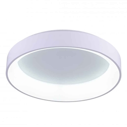 "24"" LED Drum Shade Flush Mount with White finish"