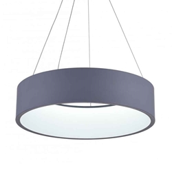 "24"" LED Drum Shade Pendant with Gray & White finish"