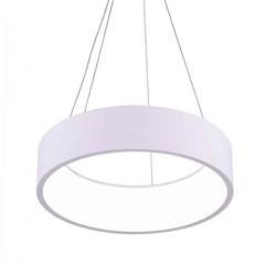 "24"" LED Drum Shade Pendant with White finish"