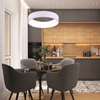 "Picture of 24"" LED Drum Shade Pendant with White finish"