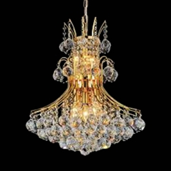 "24"" Monarch Crystal Round Chandelier Chrome / Gold 10 Lights"