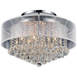 "24"" Organza Contemporary Round Crystal Flush Mount Ceiling Lamp Chrome Finish Black / White / Champagne Shade and Smoke / Clear Crystals 12 Lights"