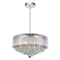 "24"" Organza Contemporary Round Crystal Pendnat Chrome Finish Black / White / Champagne Shade and Smoke / Clear Crystals 12 Lights"
