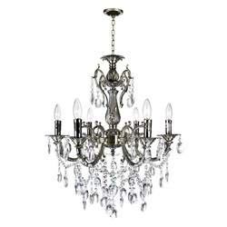 "24"" Ottone Traditional Candle Round Crystal Chandelier Antique Brass Finish 6 Lights without Lamp shades"