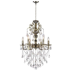 "24"" Ottone Traditional Candle Round Crystal Chandelier Antique Brass Finish 6 Lights without Lampshades"