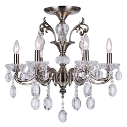 "24"" Ottone Traditional Candle Round Flush Mount Crystal Chandelier Antique Brass Finish 6 Lights without Lampshades"