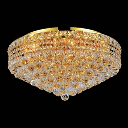 "24"" Primo Transitional Round Crystal Flush Mount Ceiling Chandelier Gold Plated 12 Lights"