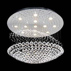 "24"" Sphere Modern Round Crystal Flush Mount Ceiling Lamp Mirror Stainless Steel Base 13 Lights"