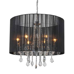 "24"" Verona Contemporary String Drum Shade Crystal Round Chandelier Polished Chrome with Black / White / Silver Shade 6 Lights"