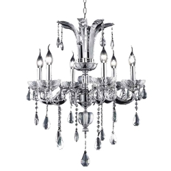 """24"""" Vittoria Traditional Crystal Candle Round Chandelier Polished Chrome 6 Lights"""