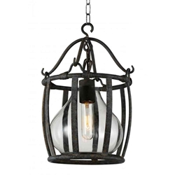 "25"" 1 Light Down Pendant with Antique Black finish"