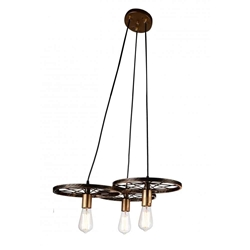 """25"""" 3 Light Down Chandelier with Black & Gold finish"""
