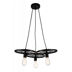 """25"""" 3 Light Down Chandelier with Black finish"""