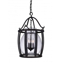 "25"" 3 Light Up Pendant with Antique Black finish"