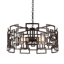 """25"""" 4 Light Down Chandelier with Brown finish"""