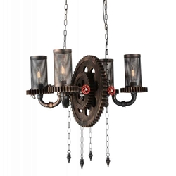 "25"" 4 Light Up Chandelier with Rust finish"