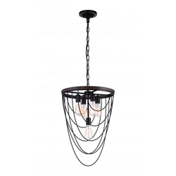 "25"" 5 Light  Chandelier with Black finish"