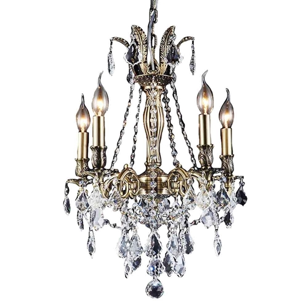 """Picture of 25"""" 5 Light Up Chandelier with French Gold finish"""