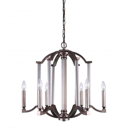"25"" 6 Light Candle Chandelier with Brownish Silver finish"