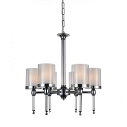 """25"""" 6 Light Candle Chandelier with Chrome finish"""