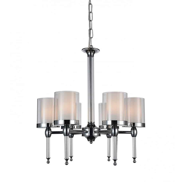 "Picture of 25"" 6 Light Candle Chandelier with Chrome finish"