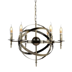 "25"" 6 Light Up Chandelier with Antique Bronze finish"