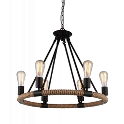 """25"""" 6 Light Up Chandelier with Black  finish"""