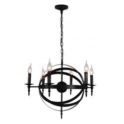 "25"" 6 Light Up Chandelier with Black finish"