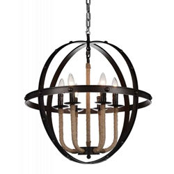 """25"""" 6 Light Up Chandelier with Rust finish"""