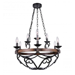 """25"""" 9 Light Candle Chandelier with Gun Metal finish"""