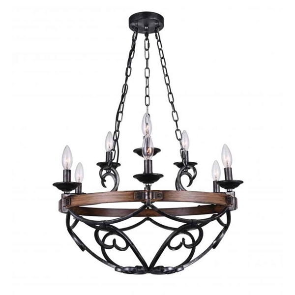 "Picture of 25"" 9 Light Candle Chandelier with Gun Metal finish"