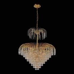 """26"""" 11 Light Down Chandelier with Gold finish"""