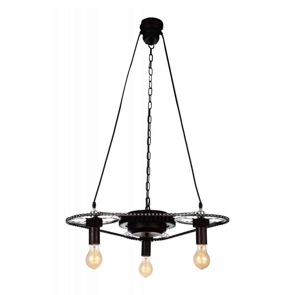 "Picture of 26"" 3 Light Down Chandelier with Gray finish"