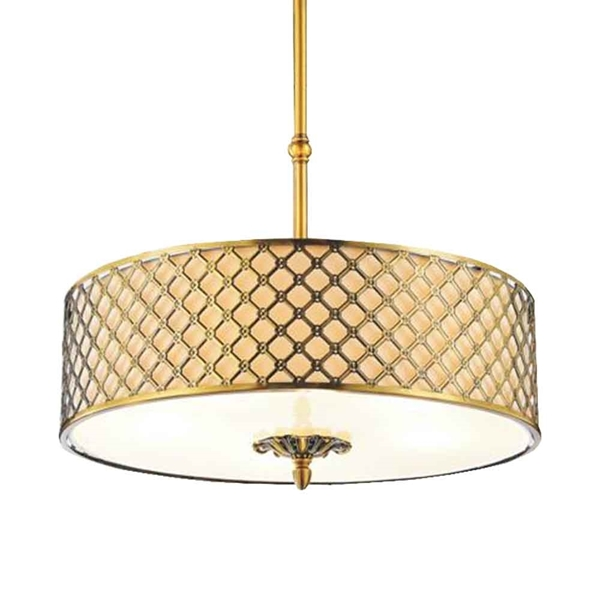 "Picture of 26"" 4 Light Drum Shade Chandelier with French Gold finish"