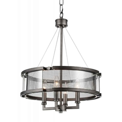 "26"" 4 Light Up Chandelier with Black Silver finish"