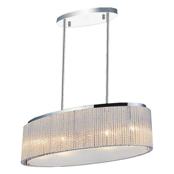 "Picture of 26"" 5 Light Drum Shade Chandelier with Chrome finish"
