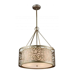 "26"" 5 Light Drum Shade Chandelier with Rubbed Silver finish"