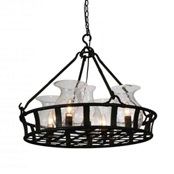 "26"" 5 Light Up Chandelier with Antique Black finish"