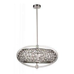 "26"" 6 Light  Chandelier with Satin Nickel finish"