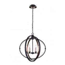 """26"""" 6 Light Candle Chandelier with Golden Brown finish"""
