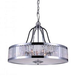 "26"" 6 Light Drum Shade Chandelier with Chrome finish"